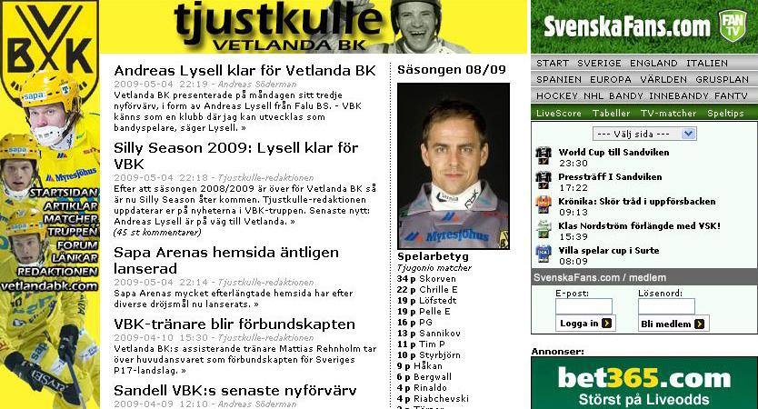 Tjustkulle-redaktionen på SvenskaFans.com/Bandy 2009